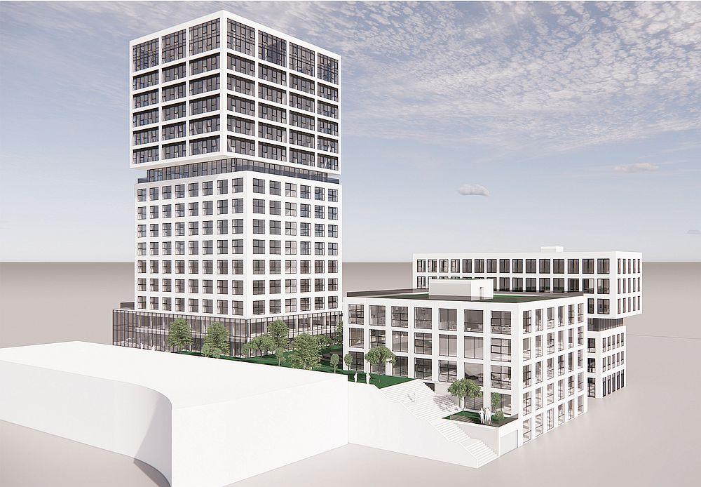 Computergrafik des ersten und zweiten Bauabschnitts des Hamburg Innovation Port